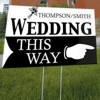 Personalized 'Wedding This Way' Outdoor Sign (6 Colors)