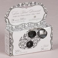 Wedding Disposable Cameras with Love Bird Damask Design