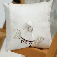 Love Birds Pennant Personalized Wedding Ring Pillow