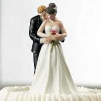 'Yes to the Rose' Bride and Groom Wedding Cake Topper