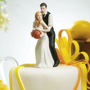 Hoop Dreams Wedding Couple Cake Topper (Light Skin Tone) image