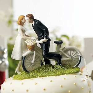 Bicycle Bride and Groom Wedding Couple Cake Topper image