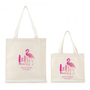Personalized Let's Flamingle White Canvas Tote Bag or Mini T image