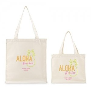 Personalized Aloha White Canvas Tote Bag or Mini Tote image