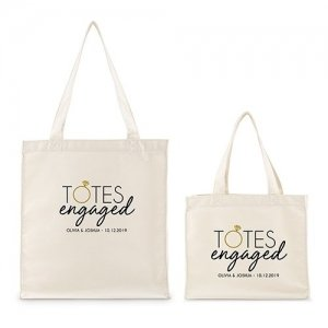 Totes Engaged Personalized White Canvas Tote Bag or Mini Tot image