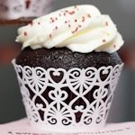 Lace Hearts Cupcake Wrappers (Set of 12 - 4 Colors)