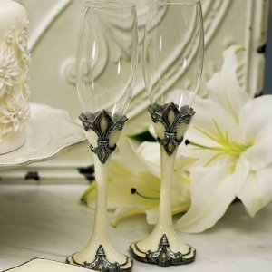 Decorative Fleur De Lis Wedding Flutes image