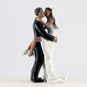 Kissing Couple Bride & Groom Cake Topper (2 Skin Tones) image