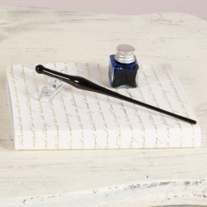 Black Glass Dip Pen Writing Set image