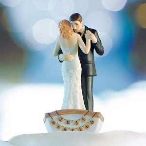 Row Away Wedding Couple in Rowboat Figurine (Color Options) image