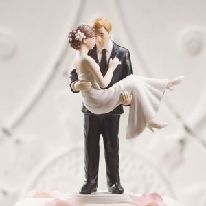 Swept Up in His Arms Wedding Couple Cake Top (Color Options) image