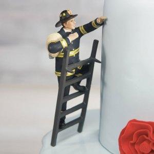 To the Rescue! Fireman Wedding Cake Topper (Mix & Match) image