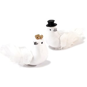 Miniature Bride And Groom Wedding Doves (Set of 6) image