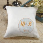 Circle Floral Monogrammed Ring Bearer Pillow (6 Colors)