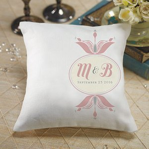 Personalized Double Floral Monogram Ring Pillow (3 Colors) image