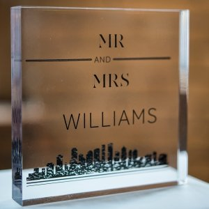 City Style Personalized Clear Acrylic Block Cake Topper image