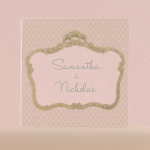 Vintage Frame Personalized Clear Acrylic Block Cake Topper image