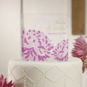 Zinnia Bloom Personalized Acrylic Block Cake Topper image