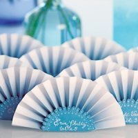 Ombre Color Paper Fan Place Cards (Set of 12) - 3 Colors