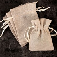 Mini Linen Burlap Drawstring Bags (Set of 12)