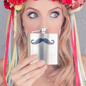 Mustache Design Stainless Steel Flask image