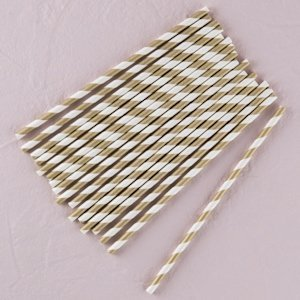 Striped Metallic Paper Straws (Gold or Silver) image