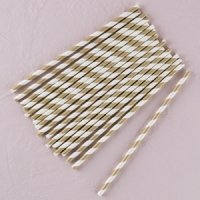 Striped Metallic Paper Straws (Gold or Silver)