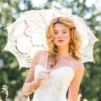 Antiqued Battenburg Lace Parasol (2 sizes)