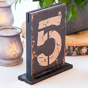 Rustic Self-Standing Wooden Table Number And Holders image