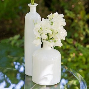 White Glass Bottle Decor Set of 3 image