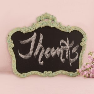 Ornate Vintage Framed Chalkboard in Aged Green image