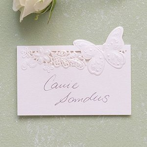 Floral & Butterfly Laser Embossed Place Cards (Set of 20) image