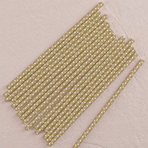 'Sippers' Metallic Polka Dot Paper Straws - Gold or Silver image