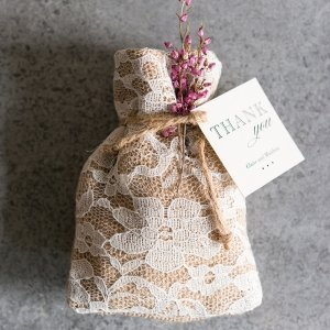 Rustic Chic Burlap and Lace Drawstring Favor Bag (Set of 12) image