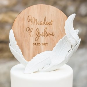 Whimsy Design White Feather Porcelain Wedding Cake Topper image