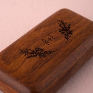 Natural Charm Personalized Wooden Wedding Ring Box image