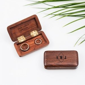 Geo Monogram Etching Pocket Size Wooden Wedding Ring Box image
