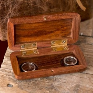 Pocket Size Wooden Wedding Ring Box image