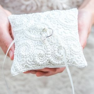 White Beaded Miniature Wedding Ring Pillow image