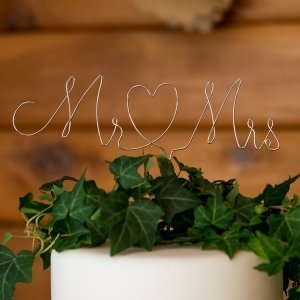 Mr. & Mrs. Twisted Silver Wire Cake Topper image