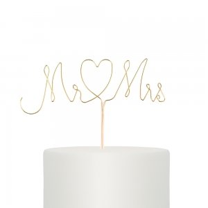 Mr. & Mrs. Twisted Gold Wire Cake Topper image