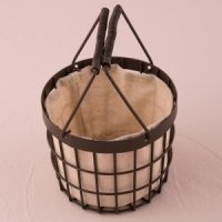 Rustic Wire Flower Basket with Fabric Liner