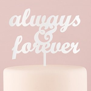 Always & Forever Acrylic Cake Topper - White or Black image