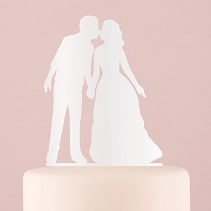 With a Kiss Silhouette Acrylic Cake Topper - White or Black image