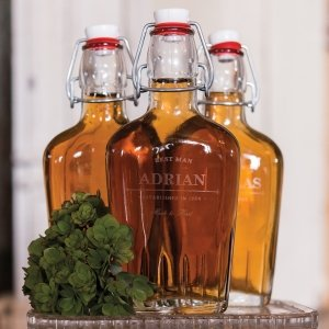 Old School Personalized Vintage Inspired Clear Glass Flask image