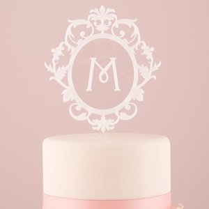 Classic Floating Monogram Cake Topper - White or Black image