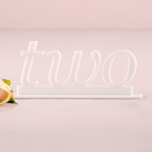 Word Style White Acrylic Table Number image