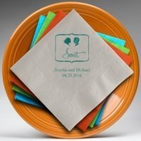 Sweet Silhouette - Bride with Bun Personalized Napkins
