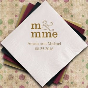 Monsieur & Madame - M & Mme - Personalized Napkins image
