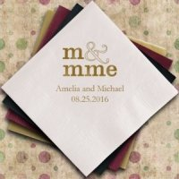 Monsieur & Madame - M & Mme - Personalized Napkins